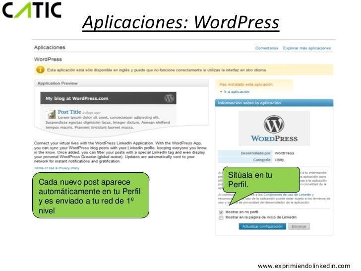Aplicaciones: WordPress                               Sitúala en tuCada nuevo post aparece        Perfil.automáticamente e...