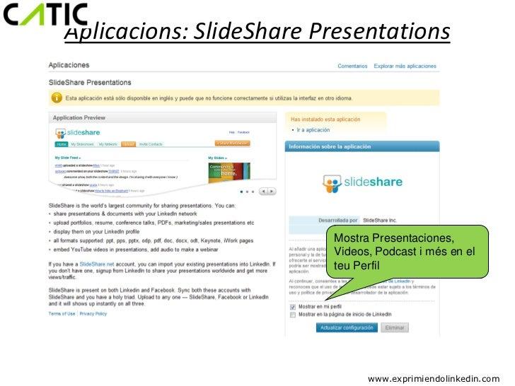 Aplicacions: SlideShare Presentations                         Mostra Presentaciones,                         Videos, Podca...