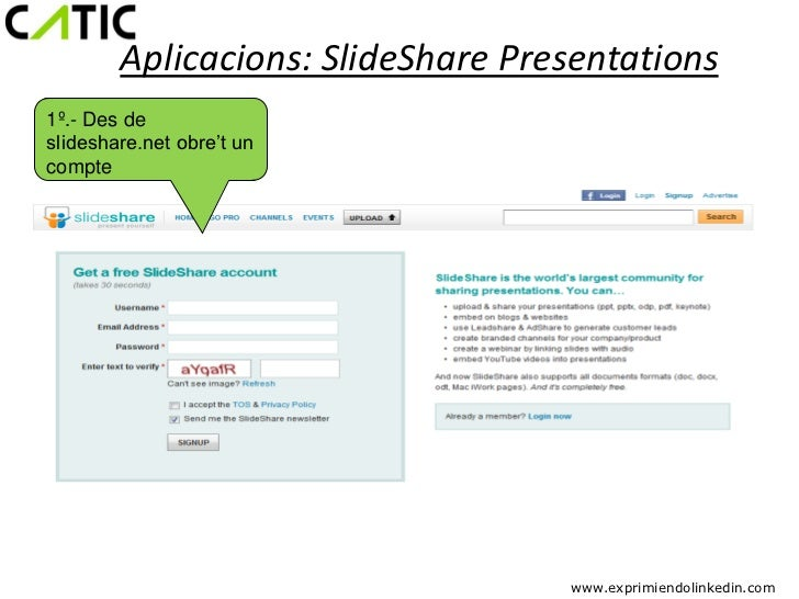 Aplicacions: SlideShare Presentations1º.- Des deslideshare.net obre't uncompte                                   www.expri...