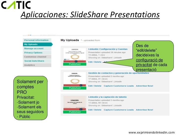 "Aplicaciones: SlideShare Presentations                                  Des de                                  ""edit/dele..."