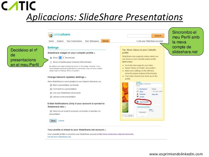 Aplicacions: SlideShare Presentations                                                 Sincronitzo el                      ...