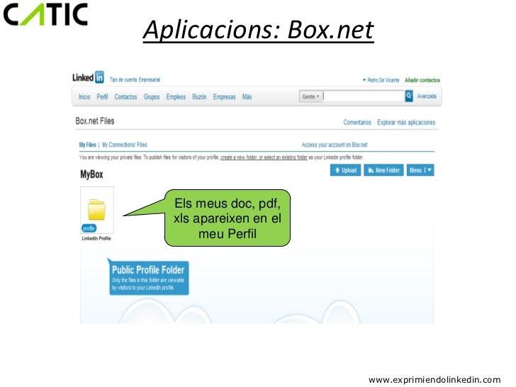 Aplicacions: Box.net  Els meus doc, pdf,  xls apareixen en el       meu Perfil                        www.exprimiendolinke...