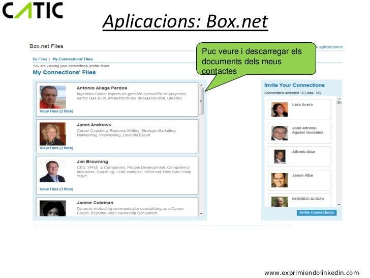 Aplicacions: Box.net           Puc veure i descarregar els           documents dels meus           contactes              ...