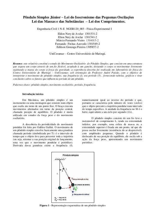 Pêndulo Simples Júnior – Lei do Isocronismo das Pequenas Oscilações Lei das Massas e das Substâncias – Lei dos Comprimento...