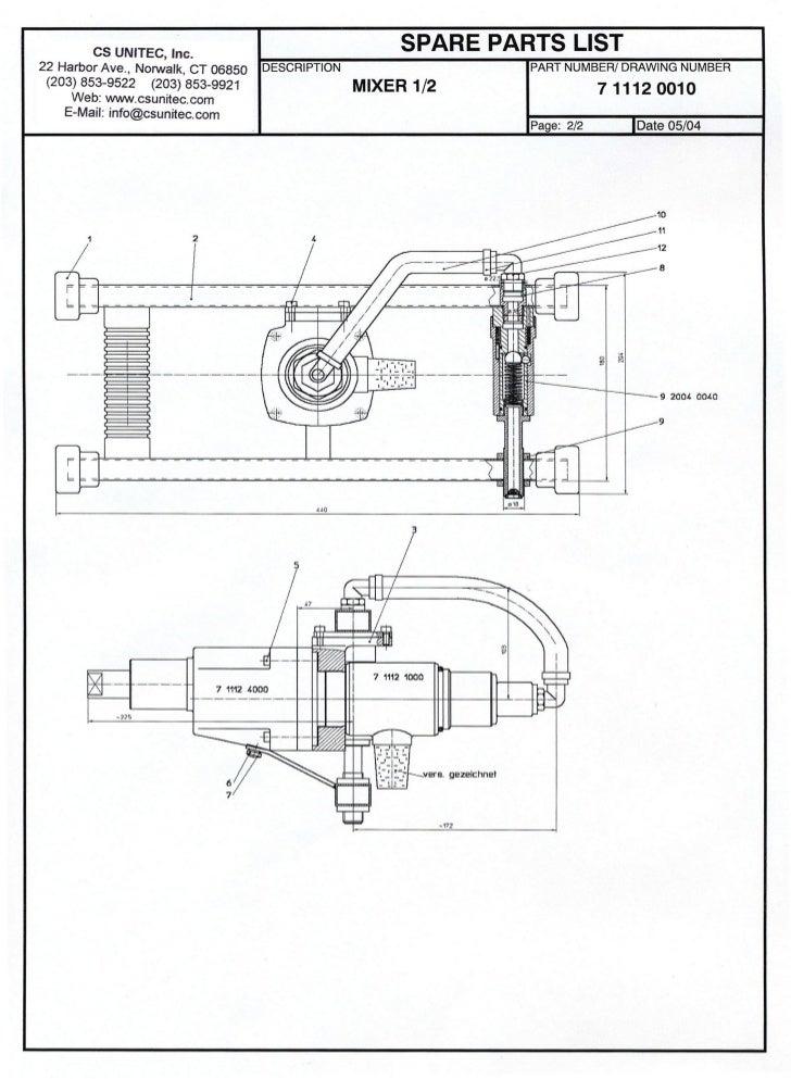 CS UNITEC                                                Mixer Model 7 1112 0010 - Parts List                             ...