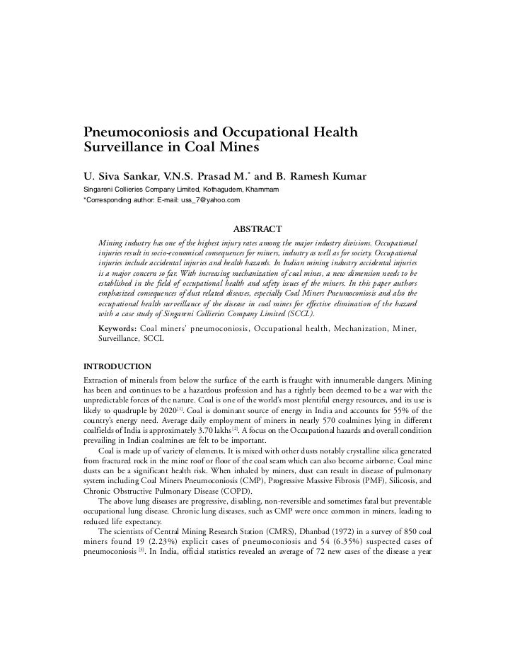 Pneumoconiosis and Occupational HealthSurveillance in Coal MinesU. Siva Sankar, V.N.S. Prasad M.* and B. Ramesh KumarSinga...
