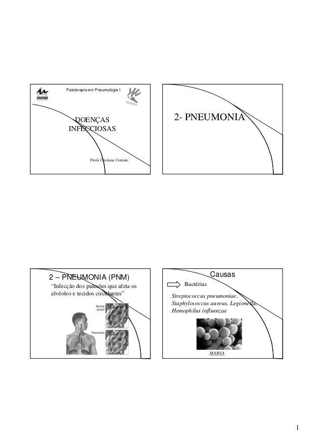 """1 Fisioterapia em Pneumologia I DOENÇAS INFECCIOSAS Profa Cristiane Contato 2- PNEUMONIA 2 – PNEUMONIA (PNM) """"Infecção dos..."""