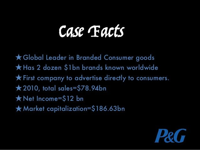 Case Facts ★Global Leader in Branded Consumer goods ★Has 2 dozen $1bn brands known worldwide ★First company to advertise d...