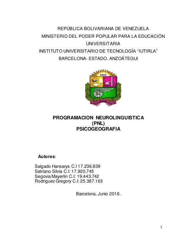 1 REPÚBLICA BOLIVARIANA DE VENEZUELA MINISTERIO DEL PODER POPULAR PARA LA EDUCACIÓN UNIVERSITARIA INSTITUTO UNIVERSITARIO ...