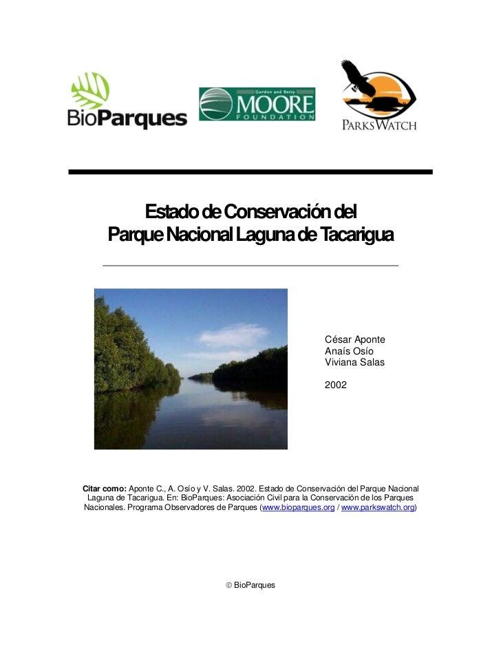 Estado de Conservación del      Parque Nacional Laguna de Tacarigua                                                       ...