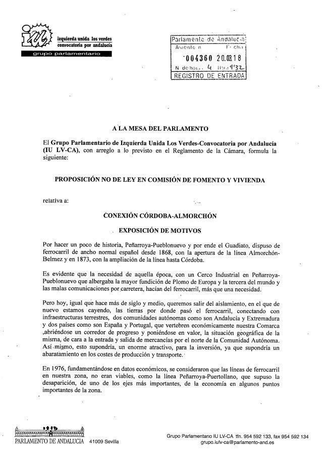IU presenta en el Parlamento una proposición no de ley para la conexión ferroviaria Córdoba - Almorchón