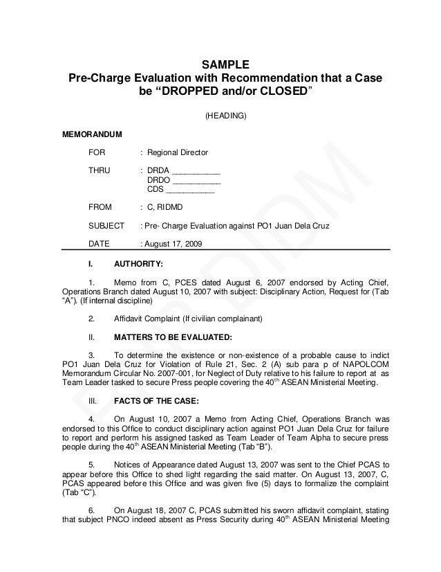 Pnp pre charge evaluation and summary hearing guide