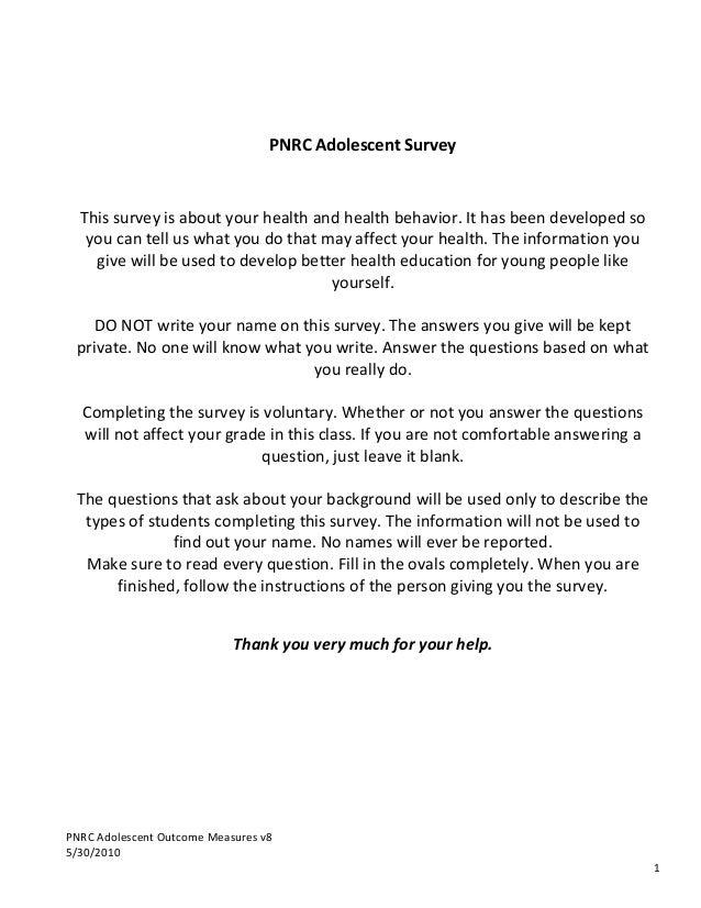 PNRC  Adolescent  Outcome  Measures  v8   5/30/2010            1                   PNRC  A...
