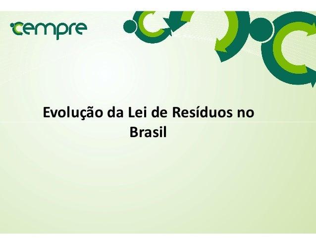 Evolução da Lei de Resíduos no BrasilBrasil