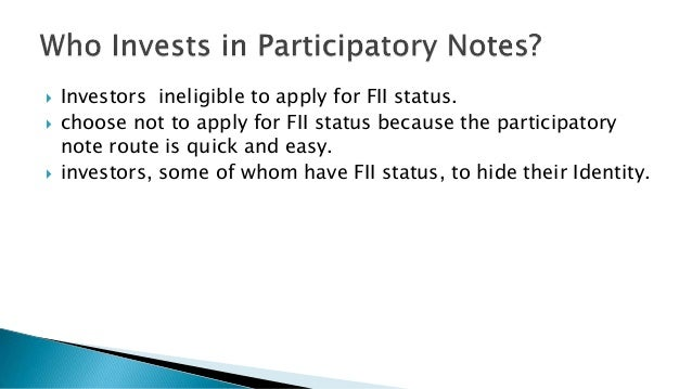 participatory notes Participatory democracy emphasizes the broad  representative democracy is not generally considered participatory since it  but notes that the resulting.