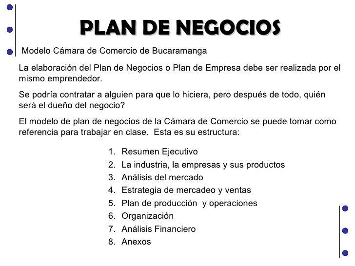 PLAN DE NEGOCIOS Modelo Cámara de Comercio de Bucaramanga La elaboración del Plan de Negocios o Plan de Empresa debe ser r...