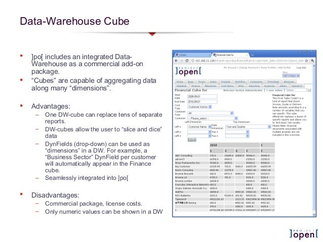 """Data-Warehouse Cube ]po[ includes an integrated Data-Warehouse as a commercial add-onpackage. """"Cubes"""" are capable of agg..."""