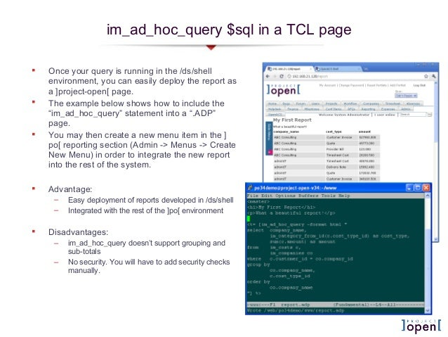 im_ad_hoc_query $sql in a TCL page Once your query is running in the /ds/shellenvironment, you can easily deploy the repo...