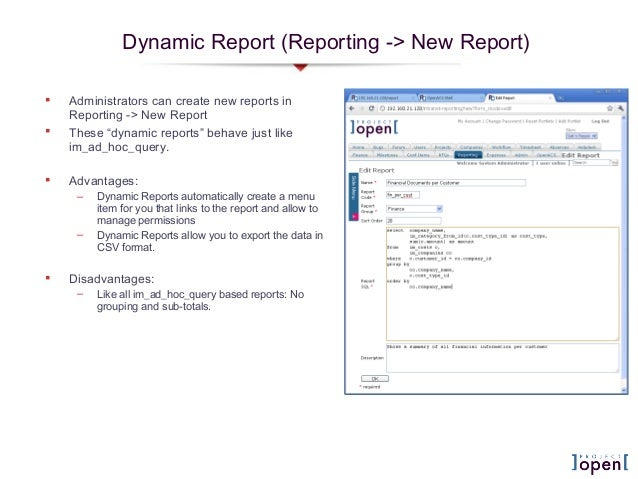 """Dynamic Report (Reporting -> New Report) Administrators can create new reports inReporting -> New Report These """"dynamic ..."""
