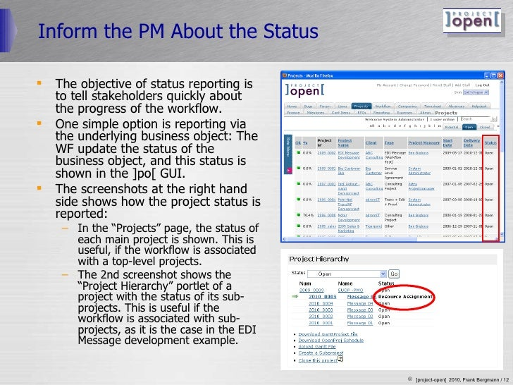 Inform the PM About the Status <ul><li>The objective of status reporting is to tell stakeholders quickly about the progres...