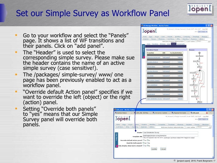 """Set our Simple Survey as Workflow Panel <ul><li>Go to your workflow and select the """"Panels"""" page. It shows a list of WF tr..."""