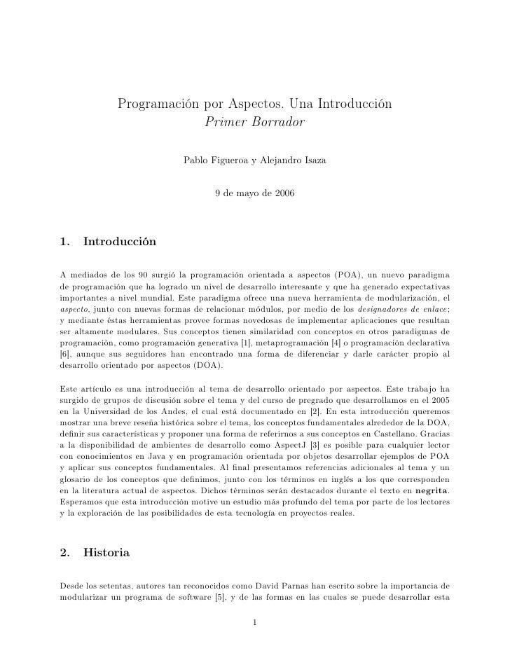 Programación por Aspectos. Una Introducción                            Primer Borrador                                 Pab...