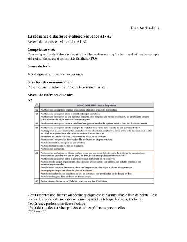 Ursa Andra-IuliaLa séquence didactique évaluée: Séquence A1- A2Niveau de la classe : VIIIe (L1), A1-A2Compétence viséeComm...