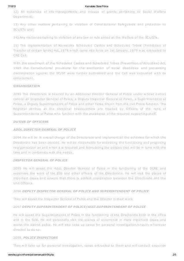POA 9 Karnataka state police manual (DCRE)
