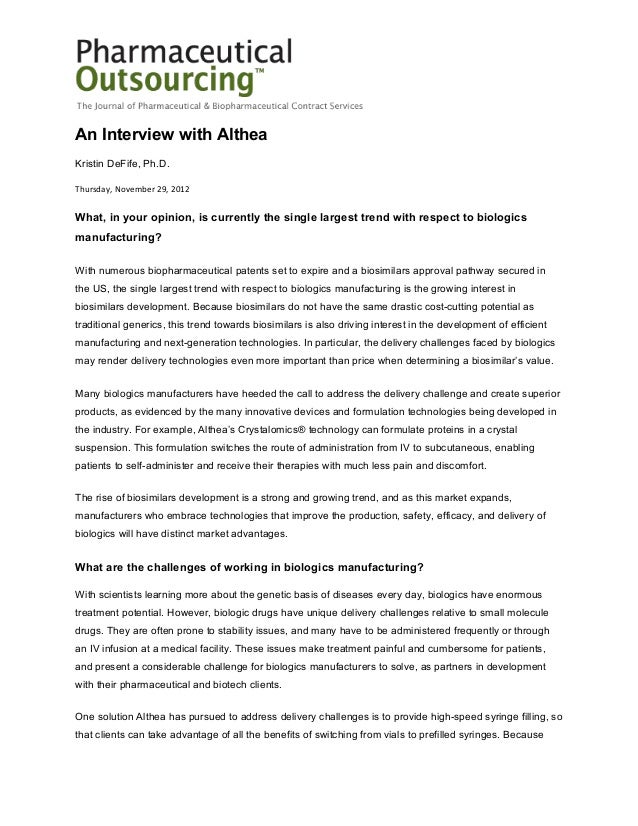 An Interview with AltheaKristin DeFife, Ph.D.Thursday, November 29, 2012What, in your opinion, is currently the single lar...