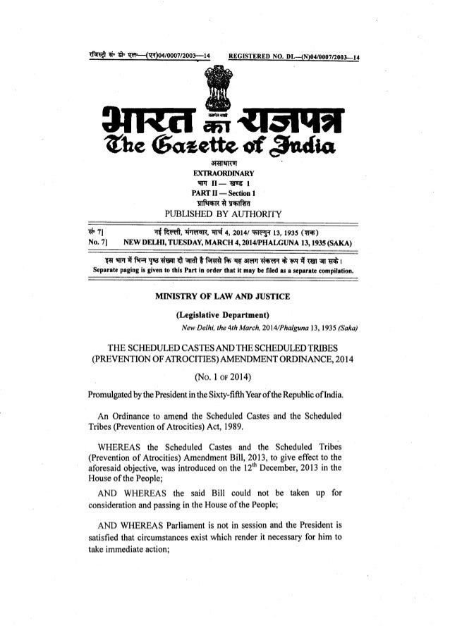POA 1b SCs and STs (Prevention of Atrocities) Amendment Ordinance 2014