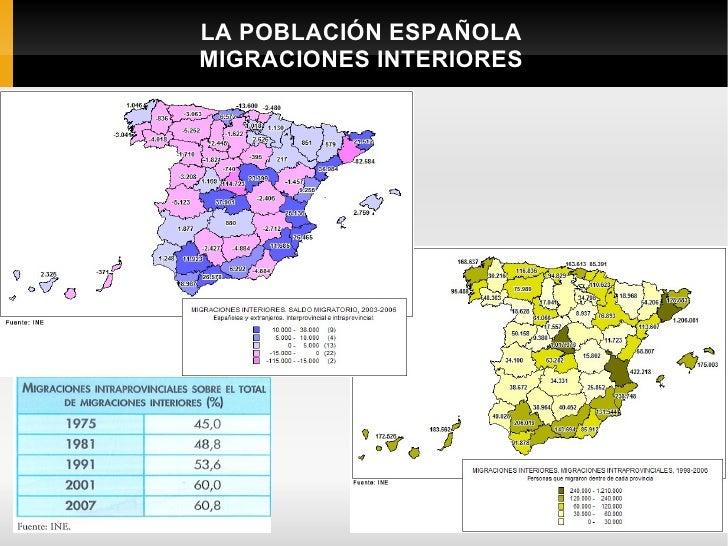 LA POBLACIÓN ESPAÑOLA    MIGRACIONES INTERIORESC