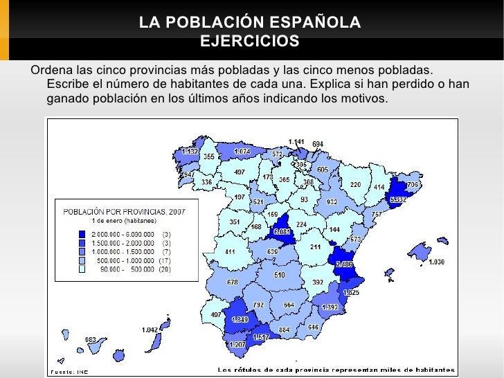 LA POBLACIÓN ESPAÑOLA                        EJERCICIOSOrdena las cinco provincias más pobladas y las cinco menos pobladas...