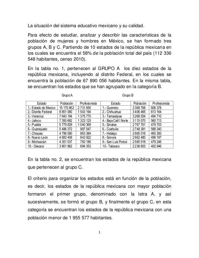 1 La situación del sistema educativo mexicano y su calidad. Para efecto de estudiar, analizar y describir las característi...