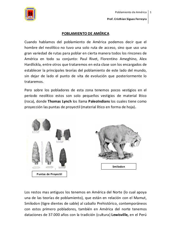 Poblamiento de América 1                                                    Prof. Cristhian Siguas Ferreyra               ...