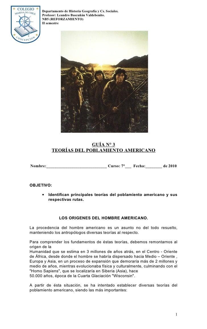 Departamento de Historia Geografía y Cs. Sociales.       Profesor: Leandro Bascuñán Valdebenito.       NB5 (REFORZAMIENTO)...