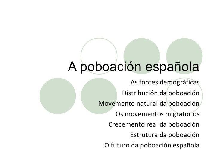 A poboación española As fontes demográficas Distribución da poboación Movemento natural da poboación Os movementos migrato...