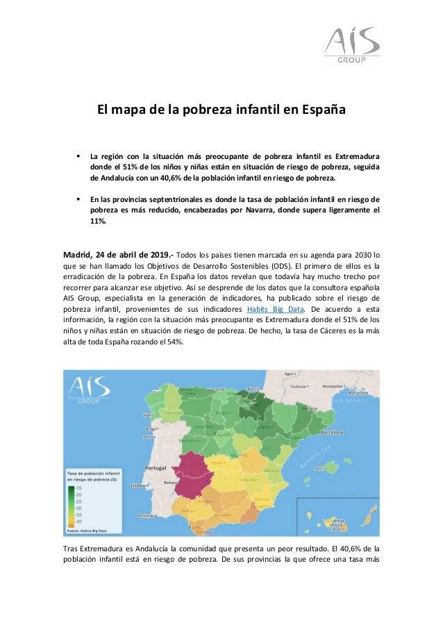 El mapa de la pobreza infantil en España  La región con la situación más preocupante de pobreza infantil es Extremadura d...