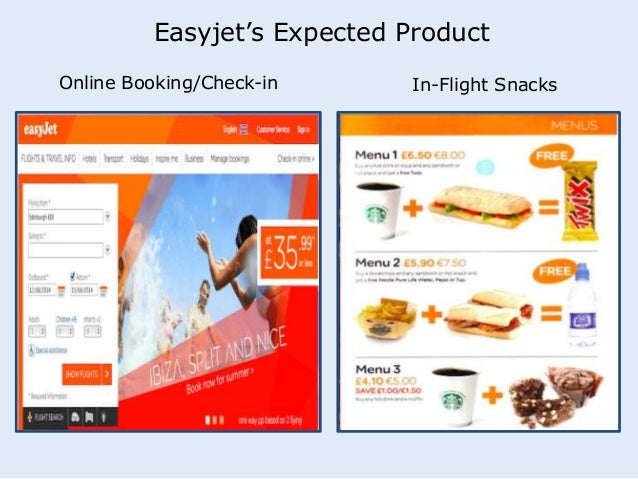 Easyjet's Expected Product  Online Booking/Check-in In-Flight Snacks