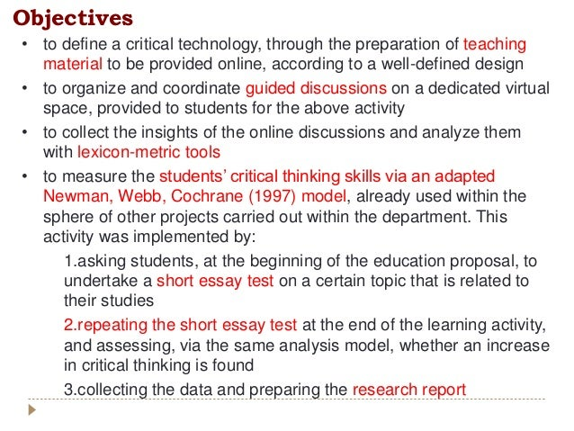 • to define a critical technology, through the preparation of teaching material to be provided online, according to a well...