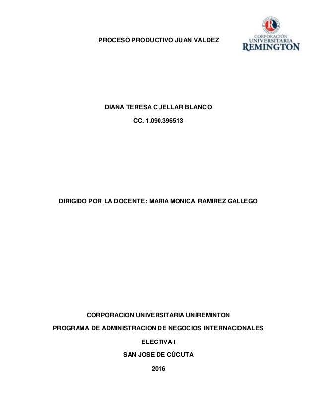 PROCESO PRODUCTIVO JUAN VALDEZ DIANA TERESA CUELLAR BLANCO CC. 1.090.396513 DIRIGIDO POR LA DOCENTE: MARIA MONICA RAMIREZ ...