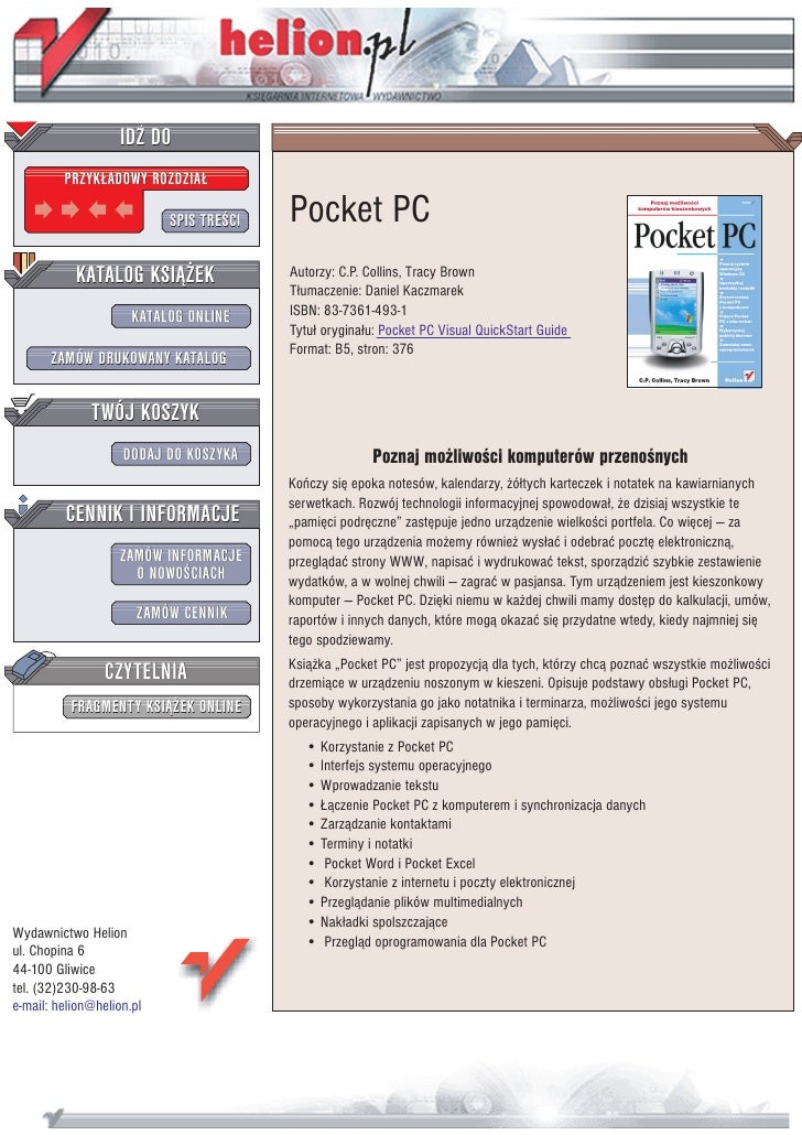 IDZ DO          PRZYK£ADOWY ROZDZIA£                             SPIS TRE CI   Pocket PC            KATALOG KSI¥¯EK       ...