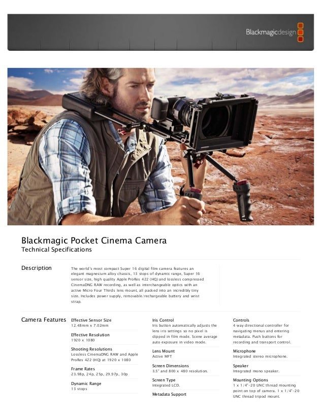 Blackmagic Design Pocket Cinema Camera Brochure