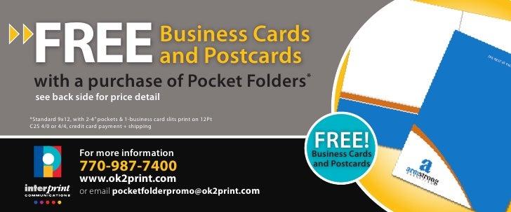 Pocket folder promo includes free business card and postcards pocket folder promo includes free business card and postcards free with a purchase of pocket folders reheart Gallery