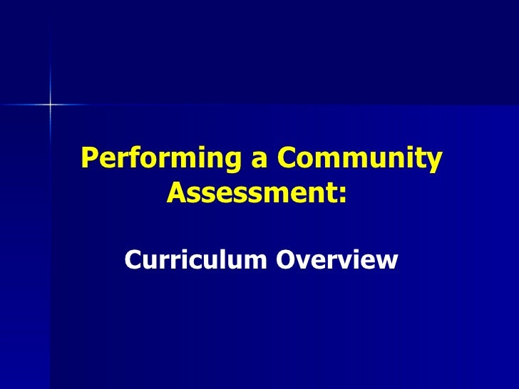 Performing a Community Assessment:  Curriculum Overview