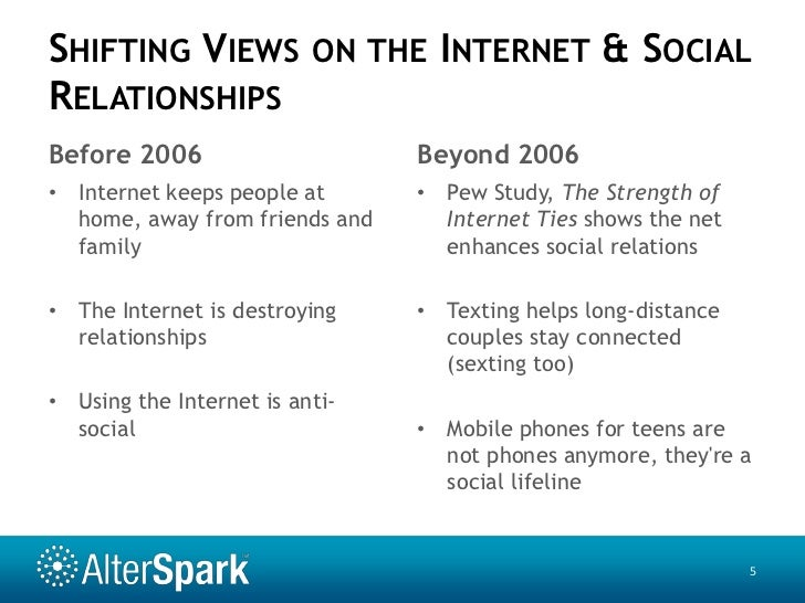 the quality of online social relationships Studies on online social relationships have focused on how internet use is associated with sociability, but have not compared the quality of online with offline relationships on the other hand, studies on adolescent friendship formation have used school samples disregarding the internet as a new social context for it.