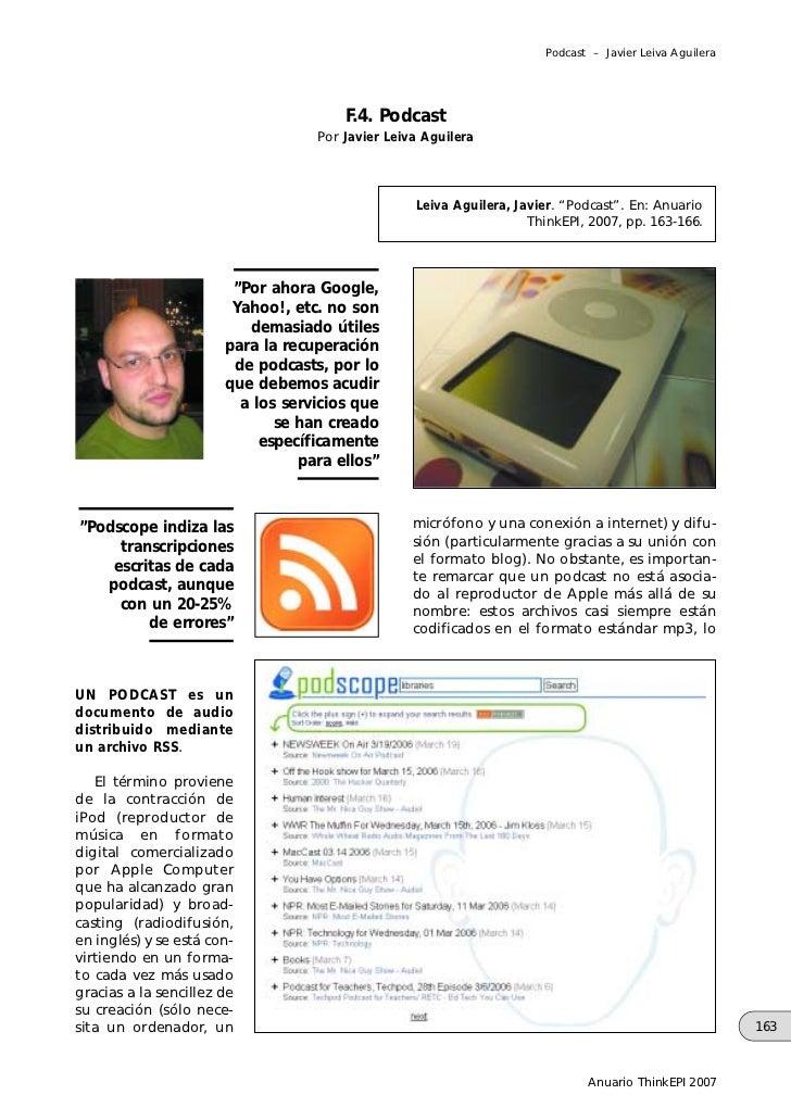 Podcast – Javier Leiva Aguilera                                       F.4. Podcast                                   Por J...