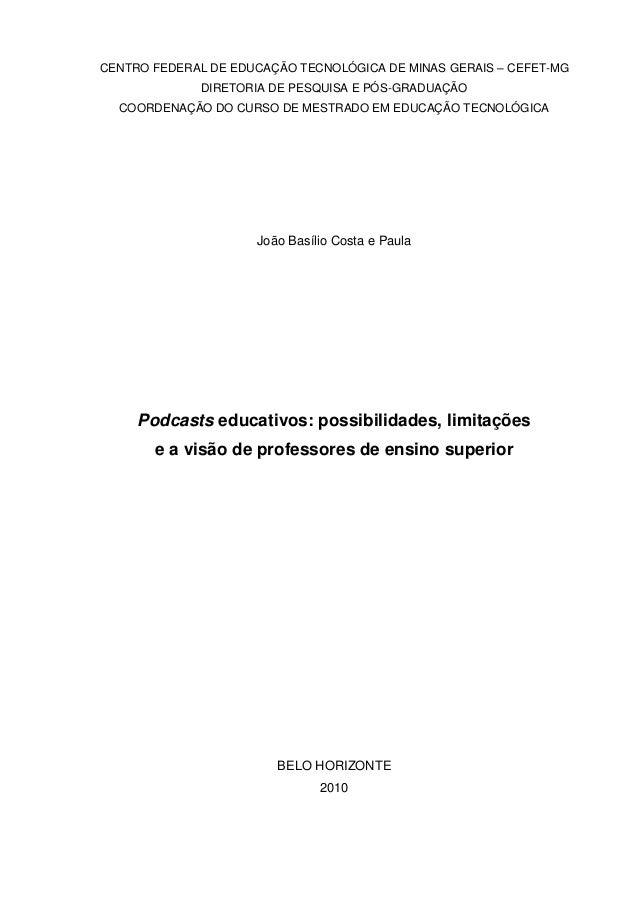 CENTRO FEDERAL DE EDUCAÇÃO TECNOLÓGICA DE MINAS GERAIS – CEFET-MG DIRETORIA DE PESQUISA E PÓS-GRADUAÇÃO COORDENAÇÃO DO CUR...