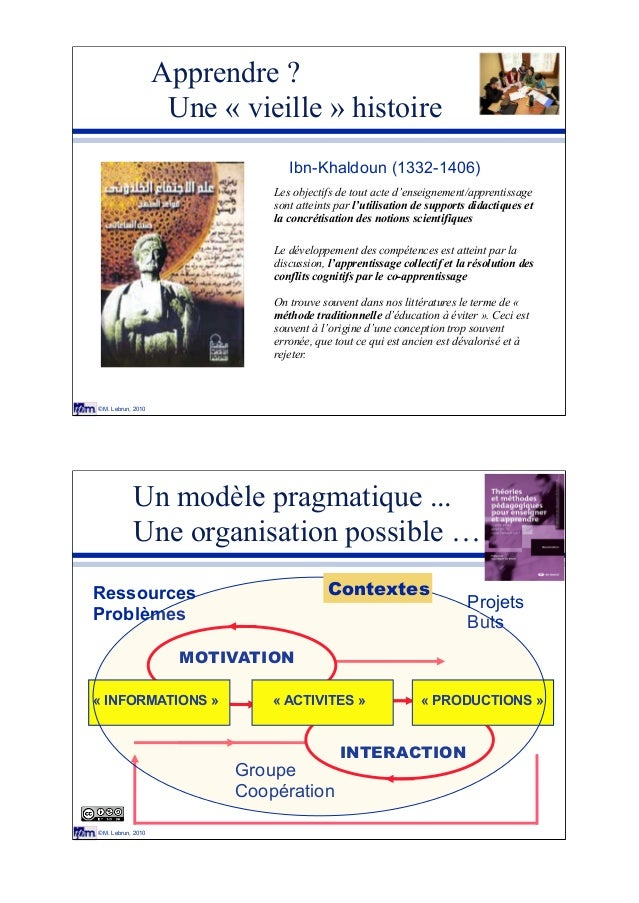 © M. Lebrun, 2010 Apprendre ? Une « vieille » histoire Piaget Vigotsky Bruner Ibn-Khaldoun (1332-1406) Les objectifs de to...