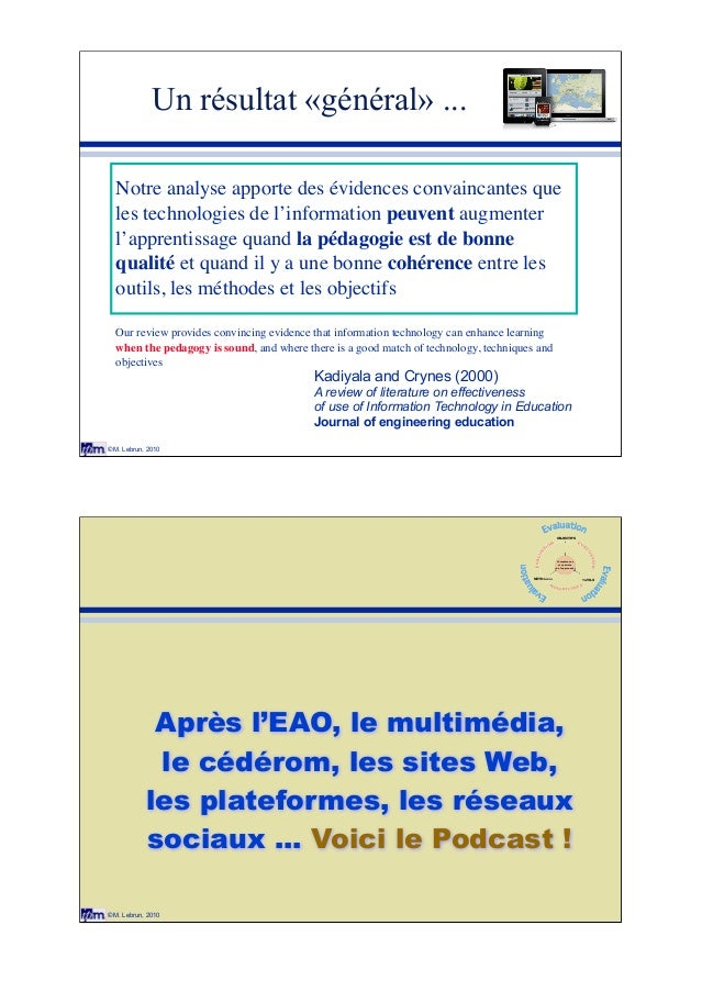 © M. Lebrun, 2010 Un résultat «général» ... Kadiyala and Crynes (2000) A review of literature on effectiveness of use of I...