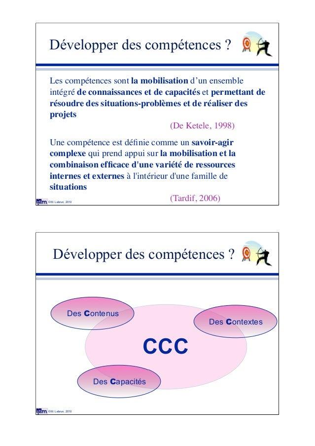 © M. Lebrun, 2010 Développer des compétences ? Les compétences sont la mobilisation d'un ensemble intégré de connaissances...